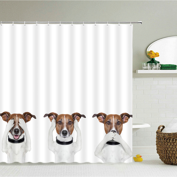Funny Dog Cat Shower Curtain 3d Bathroom Curtains Printing Horse Dinosaur Animal Polyester Cloth With Hooks 240X180 Bath Screen image
