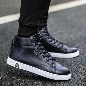 Image 2 - Autumn and Winter High top Shoes Wild Fashion Keep Warm  PU Mens Casual Shoes Trend Wear Resistant Sloe Mens Fasthion Sneakers