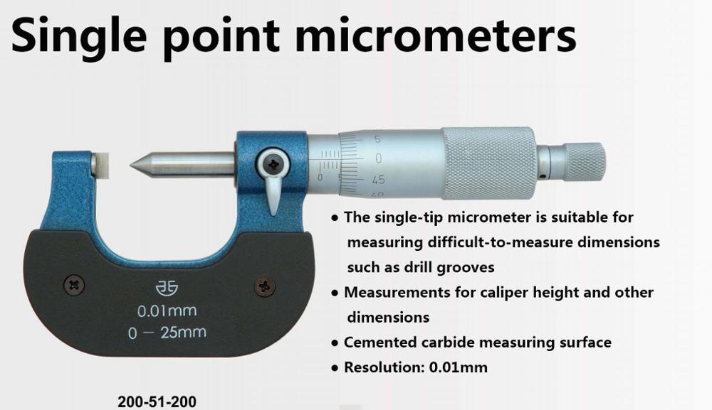 Lâmina do Micrômetro do Ponto da Lâmina da Ponta Única Micrômetro Fora Micrômetros 0-25-50mm