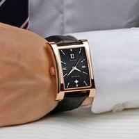 WWOOR üst marka erkek izle lüks moda kare tarih kuvars saatler hakiki deri rahat spor su geçirmez saatler erkek + hediye kutusu