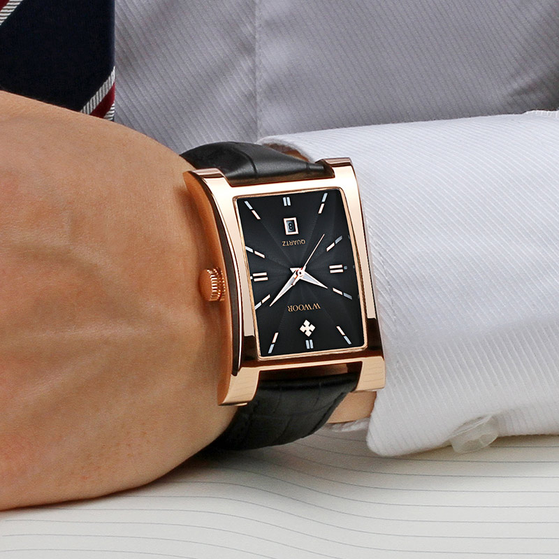 WWOOR Top Brand Men Watch Luxury Fashion Square Date Quartz Clocks Genuine Leather Casual Sport Waterproof Watches Male+Gift Box