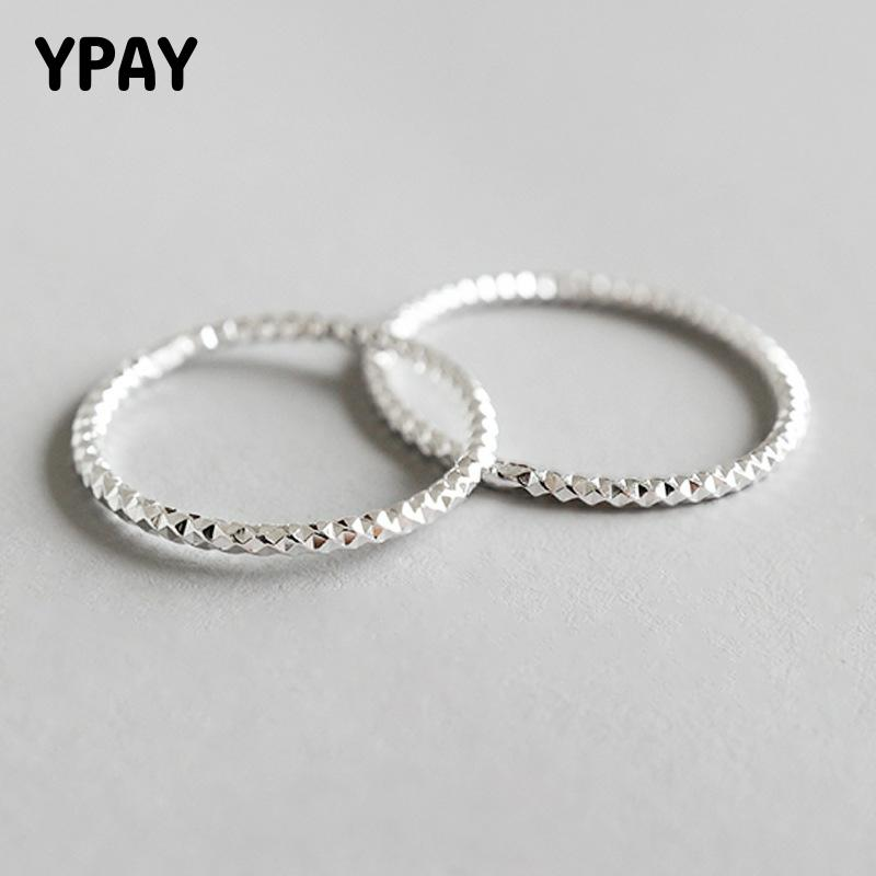 YPAY 100% Real 925 Sterling Silver Ring Simple Glint Gleam Thin Little Finger Rings For Women Fine Jewelry Gift Hot Sale YMR536