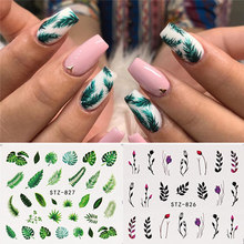 19 Ontwerpen Water Nail Stickers Decal Flamingo Bloemen Leaf Transfer Nail Art Decoraties Slider Manicure Watermerk Folie Tips(China)