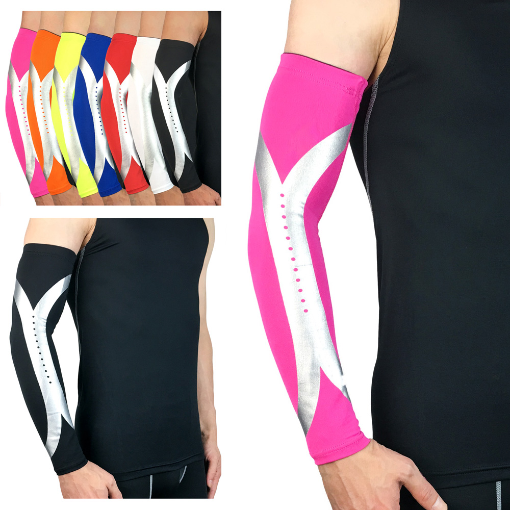 Protective Gear Sports Arm Guard Silver Reflective Design Support Basketball