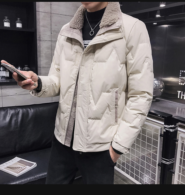 2020 Autumn & <font><b>Winter</b></font> New Arrival Short Down Coat Jacket <font><b>Men's</b></font> Casual Slim Faux <font><b>Fur</b></font> Collar Jacket <font><b>Men's</b></font> Lapel <font><b>Shirt</b></font> Free Shipping image