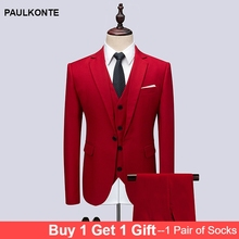 2019 New Red Slim MenS Suit Three-Piece High-End High-Quality Business Fashion Simple (Coat + Vest Pants)