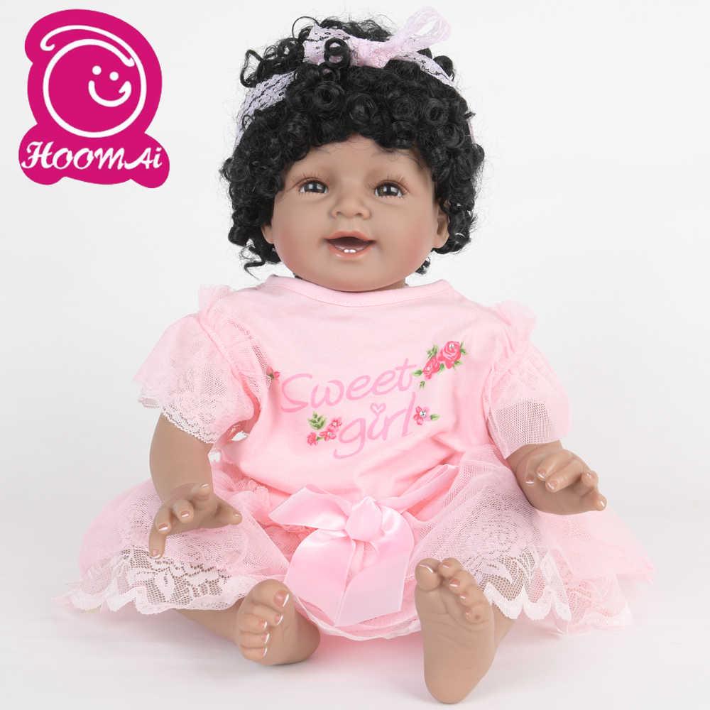 22 pollici Sguardo Reale Bebe Reborn Baby Doll Panno Del Corpo Realistico Neonato Realistico Del Bambino di Modo Bambola Giocattolo Per I Bambini Festa regali di NATALE