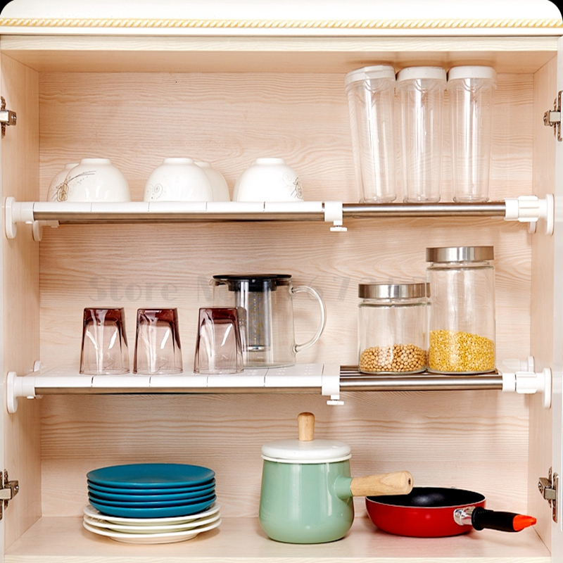 Permalink to Kitchen Cabinet Storage Layered Partition Board Retractable Nail-free Lower Sink Interlayer Frame