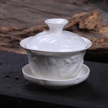 [GRANDNESS] рельефный дракон белый фарфор Gaiwan 100 мл китайская церемония Gaiwan чай Супница керамическая