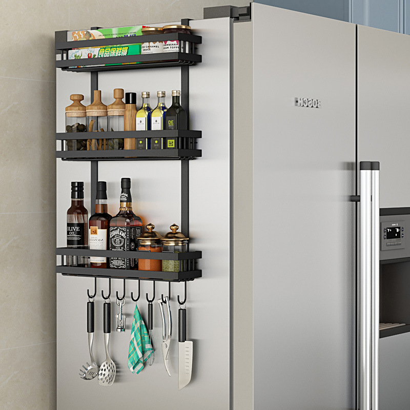 Estante de almacenamiento lateral multifuncional para refrigerador estante de cocina estante de especias montado en la pared estante de accesorios de cocina organizador
