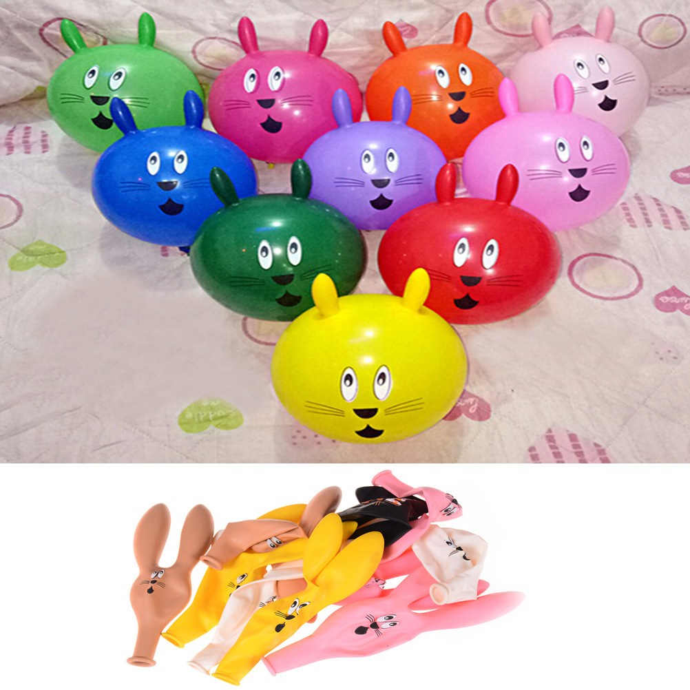 10Pcs/Set Rabbit Head Latex Inflatable Balloon Mixed Color Children's Party Special Shaped Cartoon Toys Random