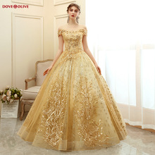 Ball-Gown Quinceanera-Dresses Debutante Sequined Gold 15-Anos Sweet Off-Shoulder Lace