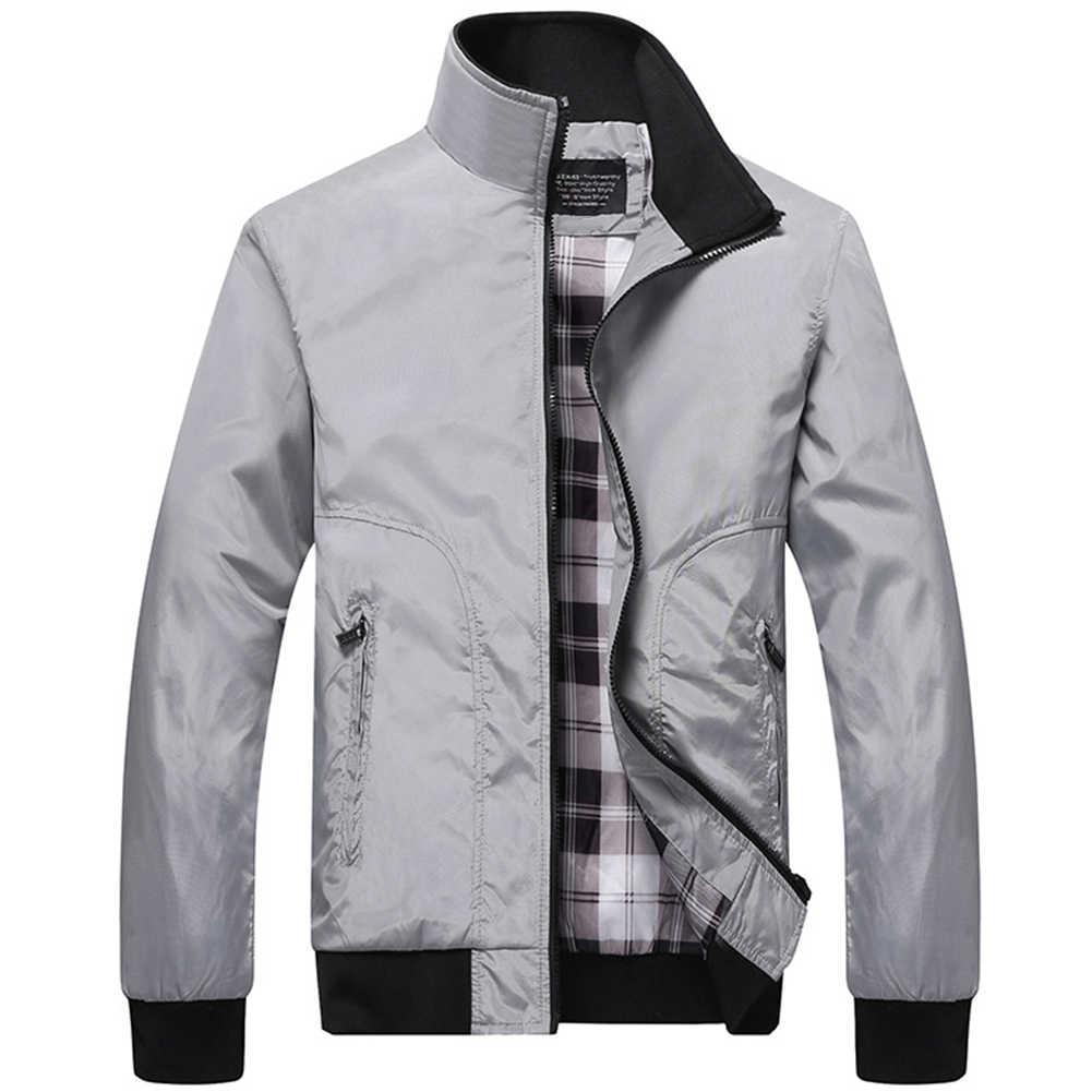 Kurtka zimowa męska kurtka bomber moda kontrastowa kolor stójka w stylu casual długi rękaw strój baseballowy kurtka płaszcz