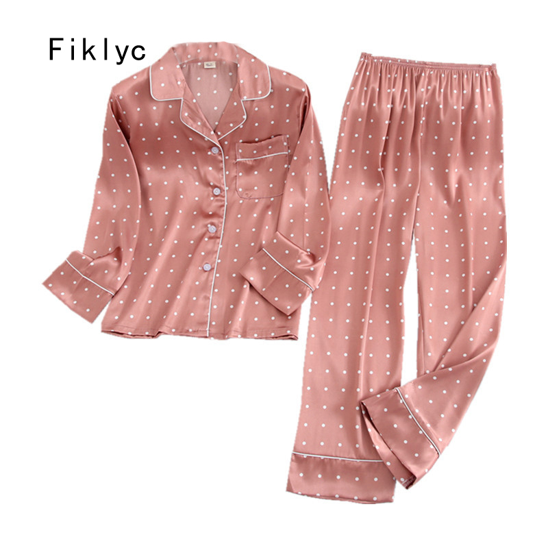 Fiklyc Underwear Spring / Autumn Long Sleeve & Pants  Women's Turn-down Satin Pajamas Sets Pizama Damska Night Suits Huispak HOT