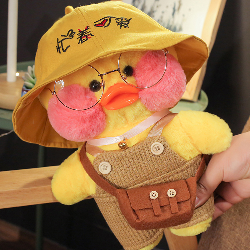 Whosale 30cm Cute LaLafanfan Cafe Duck Plush Toy Stuffed Soft Kawaii Duck Doll Animal Pillow Birthday Gift for Kids Children