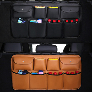 Image 2 - O SHI CAR PU leather Car Rear Seat Back Storage Bag Multi use Car Trunk Organizer Auto Stowing Tidying Auto Interior Accessories