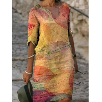 Half Sleeved V Neck Printed Loose Dress Women's Fashion Casual Vintage Spring Autumn All-match Plus Size Beach Dresses Vestidos 2