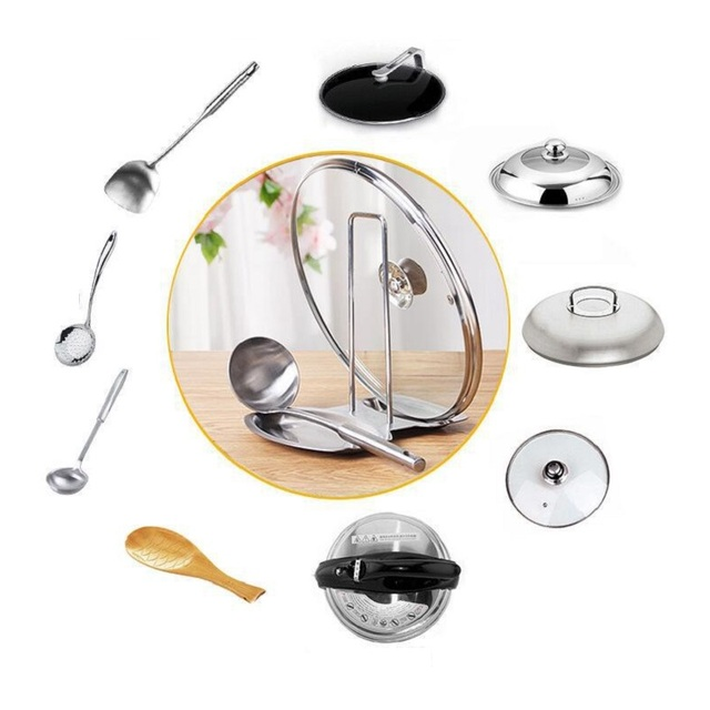 WBBOOMING Kitchen Accessories Stainless Steel Pot Lid Shelf Kitchen Organizer Pan Cover Lid Rack Stand Sponge Spoon Dish Holder 5