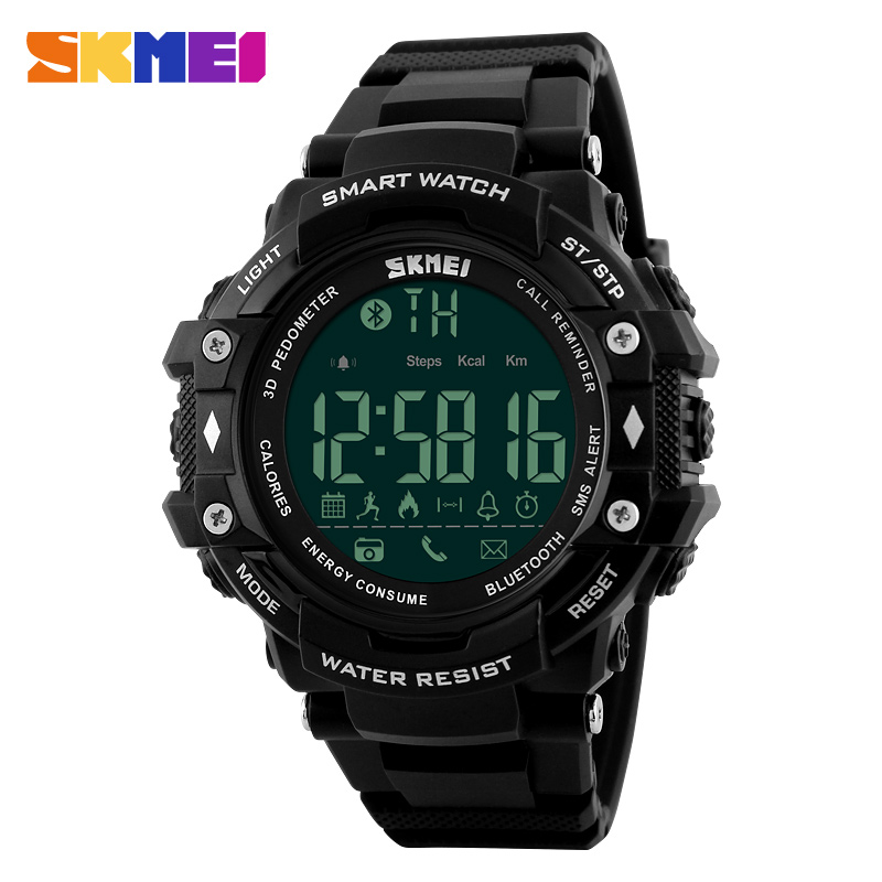 SKMEI Men Sports Smart Watches Bluetooth Pedometer Call Reminder Remote Camera Male Smartwatch Digital Wristwatches Clock 1226 in Smart Watches from Consumer Electronics