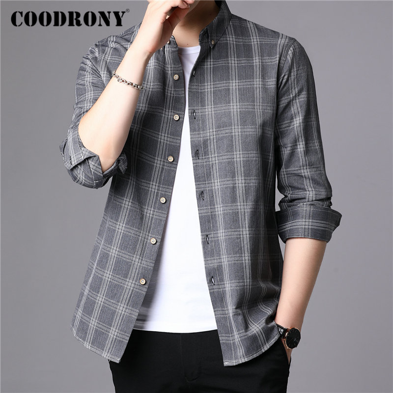 COODRONY Brand Men Shirt 2019 New Arrival Autum Business Casual Shirts Long Sleeve Cotton Shirt Men Plaid Camisa Masculina 96081