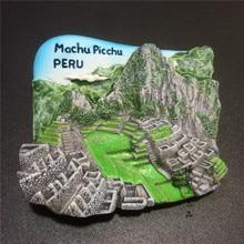 Peru Machu Picchu Ruins Fridge Magnet Resin Tourist Souvenir Peru Magnetic Refrigerator Stickers Home Kitchen Decoration Gift