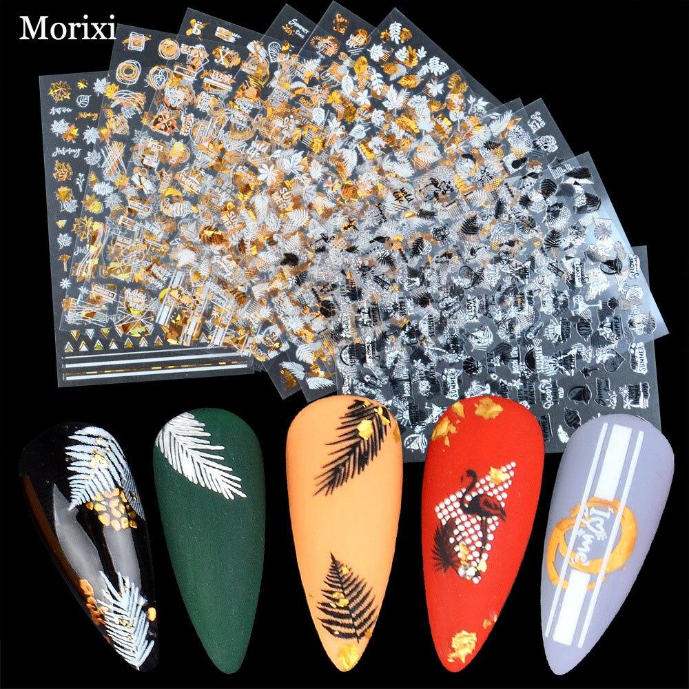 Купить наклейка для дизайна ногтей morixi 5d тисненые золотые банановые