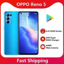 Originele Oppo Reno 5 5G Smart Telefoon 64MP Belangrijkste Camera 65W Super Vooc Charger 6.43 Oled-scherm 4300mah Batterij Mobiele Telefoon