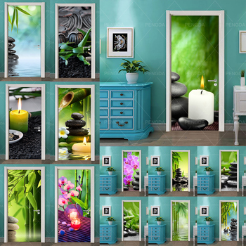 Autoadhesivo Diy Arte Pegatina Puerta Del Hogar Piedra Flor Bambú 3D Decoración PVC Papel Pintado Impreso Imagen Para Sala De Estar