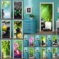 Kendinden Yapışkanlı Diy Sanat çıkartma Ev Kapı Taş Çiçek Bambu 3D DecorRenovation PVC Duvar Kağıdı Baskı Resim Oturma Odası için