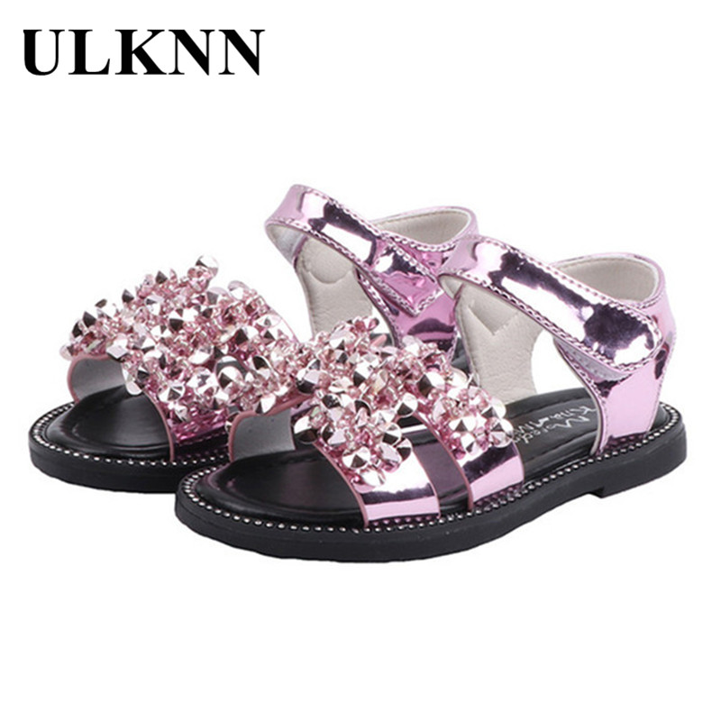 ULKNN Sandals Baby Fashion Girls Shoes Summer Diamond Sandals Princess Shoes For Girls Kids Shoes For Open Toe Kids Party Shoes