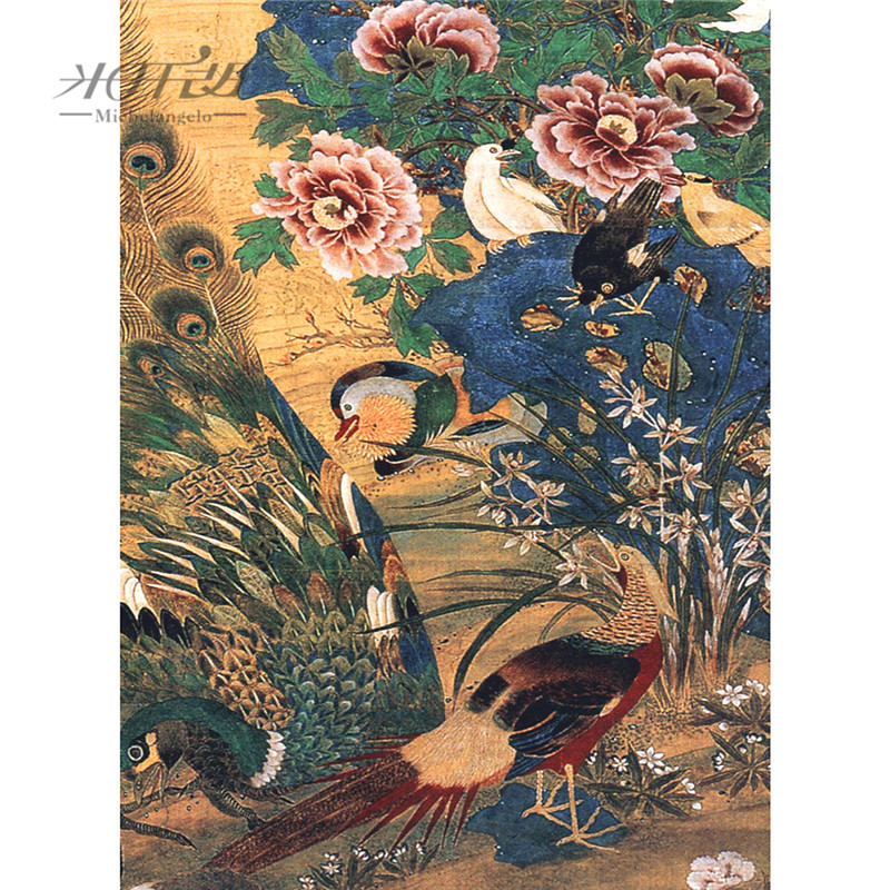 Michelangelo Wooden Jigsaw Puzzle 500 Piece Chinese Old Master Shen Quan Peacock Peony Flower Painting Art Educational Toy Decor