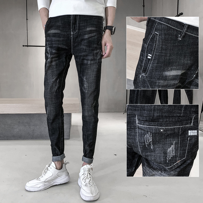 Spring New Style MEN'S Jeans Elasticity Slim Fit Skinny Pants Korean-style Casual Youth Trend Jeans Men's Fashion
