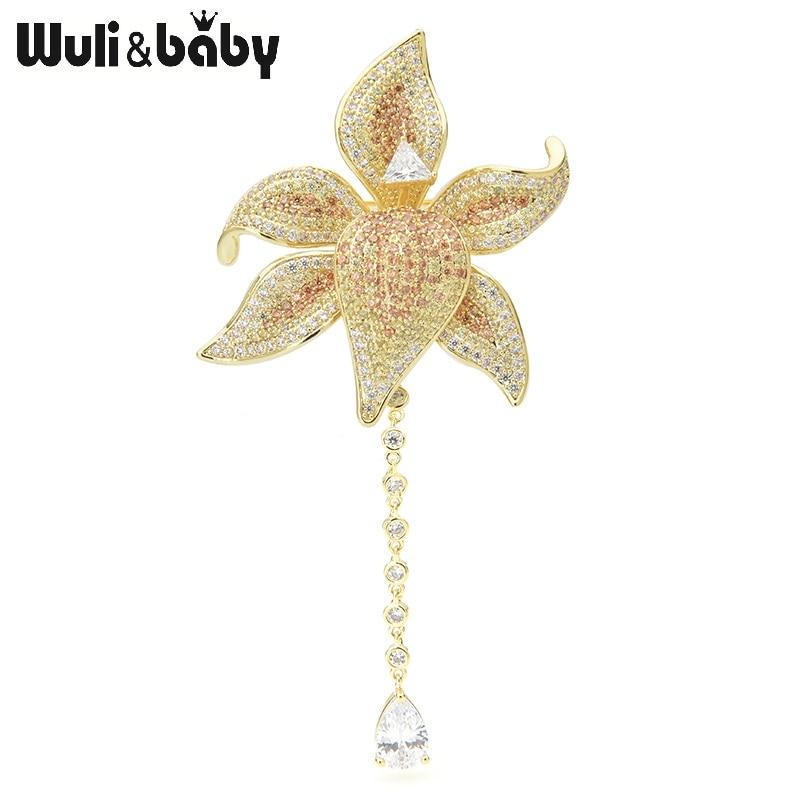 Wuli&baby Elegant Cubic Zircon Flower Brooches Women Top Quality Luxury Waterdrop Chain Flower Weddings Banquet Brooch Pins Gift