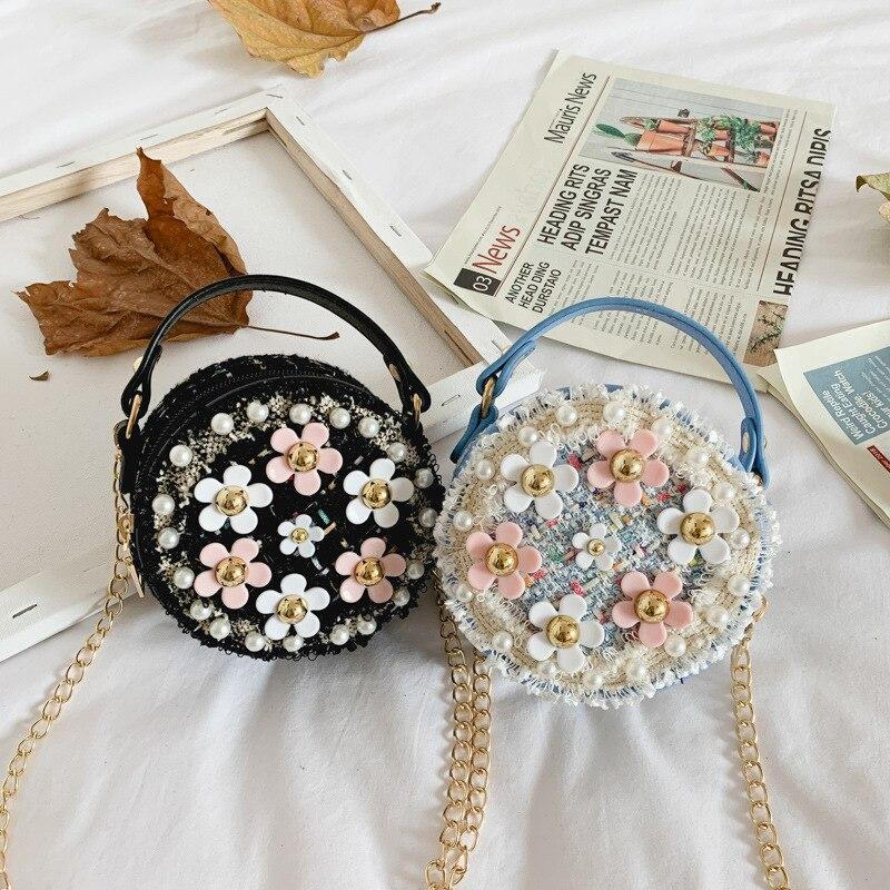 Autumn And Winter New Style Graceful Flower Girls Bag Korean-style Versatile KID'S Messenger Bag Fashion Princess Accessories Ba
