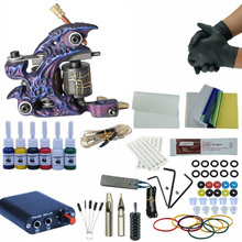 Tattoo Kits Set Tattoo Machine Power Supply Starter Tattoo Kits 8 Wrap Coils Single Gun Tattoo Machine Supplies Permanet Make Up complete tattoo kits 8 wrap coils guns machine 1 6oz black tattoo ink sets power supply disposable needle free shipping