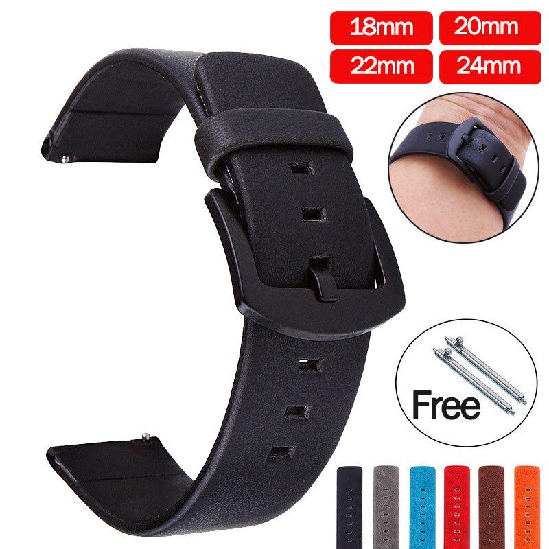 Ремешок для часов из натуральной кожи 20 мм 22 мм для Samsung Galaxy Amazfit 46 мм 42 мм Gear S3, Сменные аксессуары для часов|Ремешки для часов|   | АлиЭкспресс