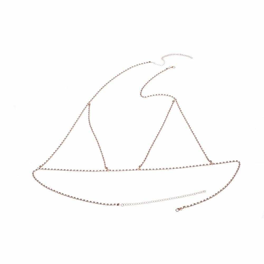 2019 חדש סקסי נשים מלא ריינסטון משובץ חוף ביקיני חזיית גוף שרשרת רתם תכשיטי גוף שרשרת חוף תכשיטי שרשרת סקסי וו