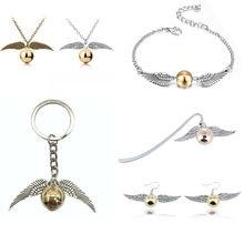 Ювелирные изделия из фильма «Золотой снитч», Закладка, ожерелье, браслет, брелок, популярные Винтажные серьги «милые крылья» для женщин и де...