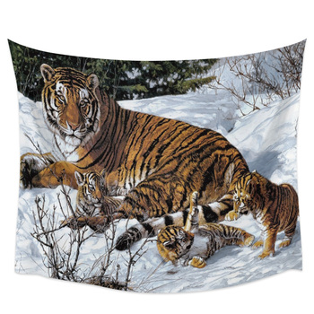 Bedroom Wall Tapestry Snow Animal Tiger Tapestry Wall Hanging Picnic Yoga Mat Living Room Wall Decoration