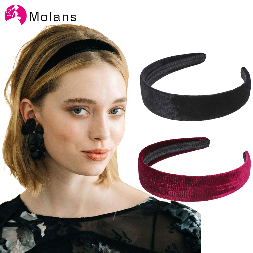 Molans Simple 2020 Velvet Hairbands Solid Color Fashion Small-brimmed Headbands Elegant Hair Accessories For Women Headpieces
