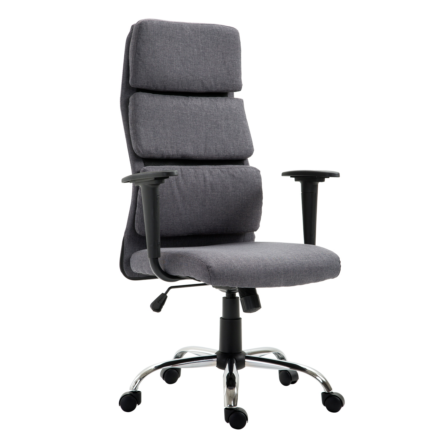 HOMCOM Ergonomic Office Chair Swivel Chair High Back Adjustable Fabric 50 × 56.5 × 117-127 Cm Gray