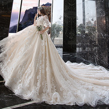 All Over Appliques Lace Princess Ball Gown Wedding Dress Plus Size Alibaba China V-neck Half Sleeve Flowers Bridal Dresses