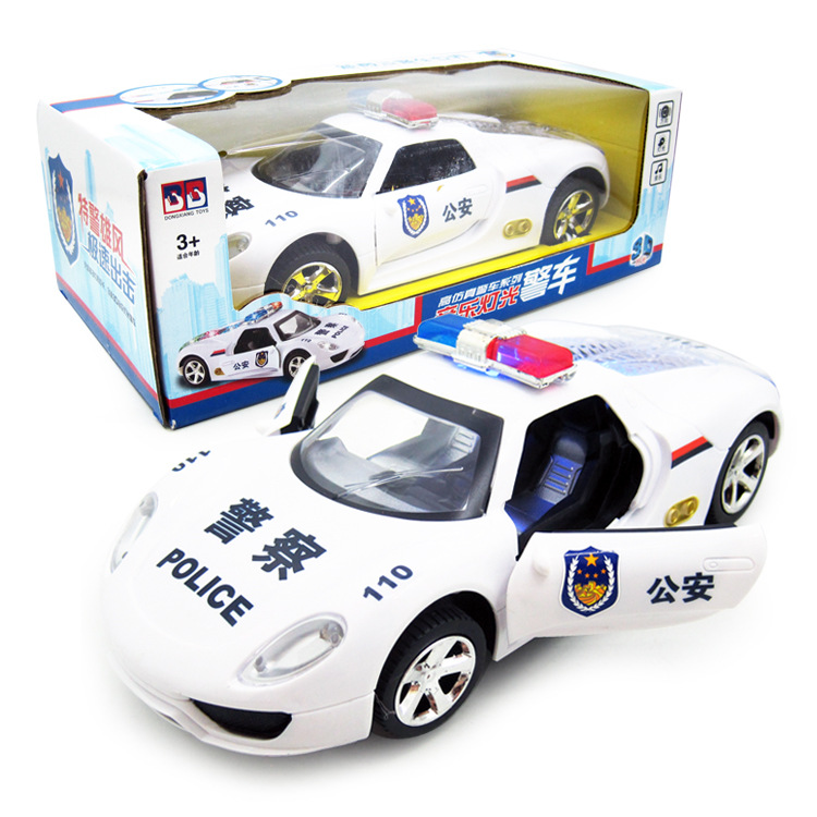 New Products Stall Hot Selling Electric Universal Toy Car Universal Colorful Light Music Electric Police Car-Door Opening