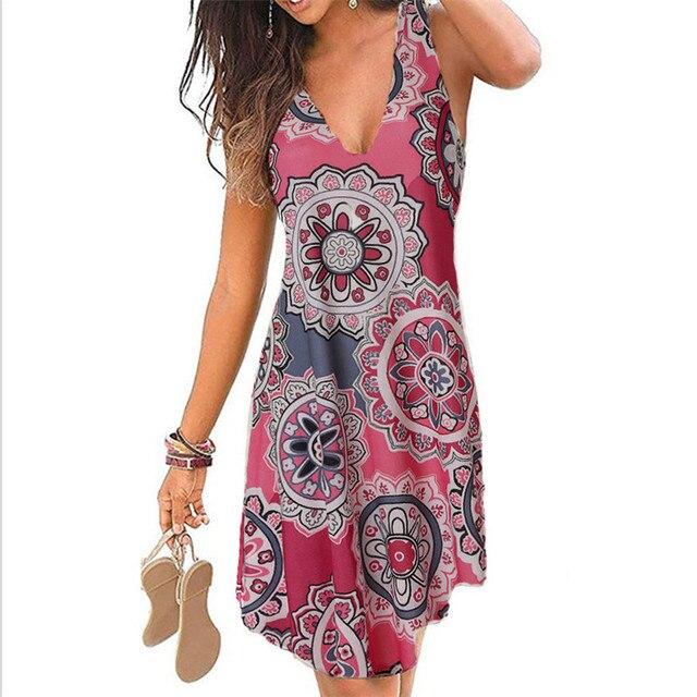 4XL 5XL Plus Size Dresses Women 2021 Sexy Summer Beach Short Dress Casual Sleeveless Deep V-Neck Ladies Folk Floral Print Dress 2