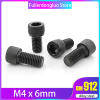 M4x6 100Pcs Grade 12.9 Alloy Steel Blackening Hex Socket Head Cap Screw By Fullerkreg ( m4 6mm )