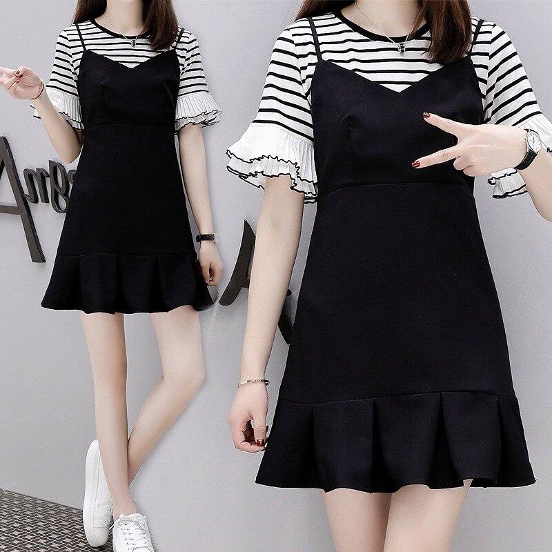 Large Size Dress Fat Mm Stripe Short Sleeve Bell Sleeve T-shirt Base Shirt And Camisole Fishtail Dress Fashion Two-Piece Set