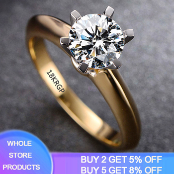 YANHUI 925 Solid Silver 18K Gold Color Ring Classic 2ct Zirconia Diamond Jewelry Engagement Wedding Ring Fashion Rings For Women yanhui have 18k rgp logo pure solid yellow gold ring luxury round solitaire 8mm 2 0ct lab diamond wedding rings for women zsr169