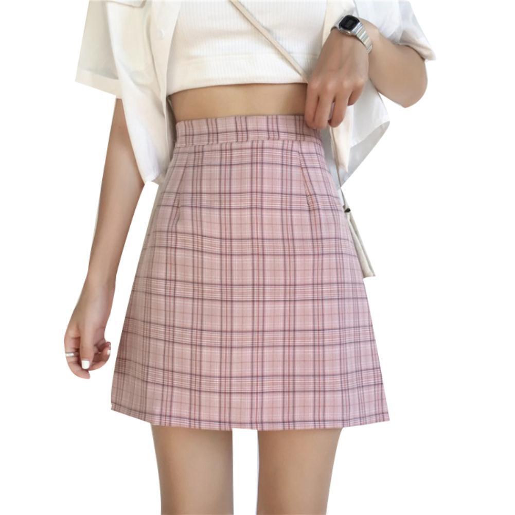 Summer School Party Women Plaid Print High Waist A-Line Bodycon Mini Skirt
