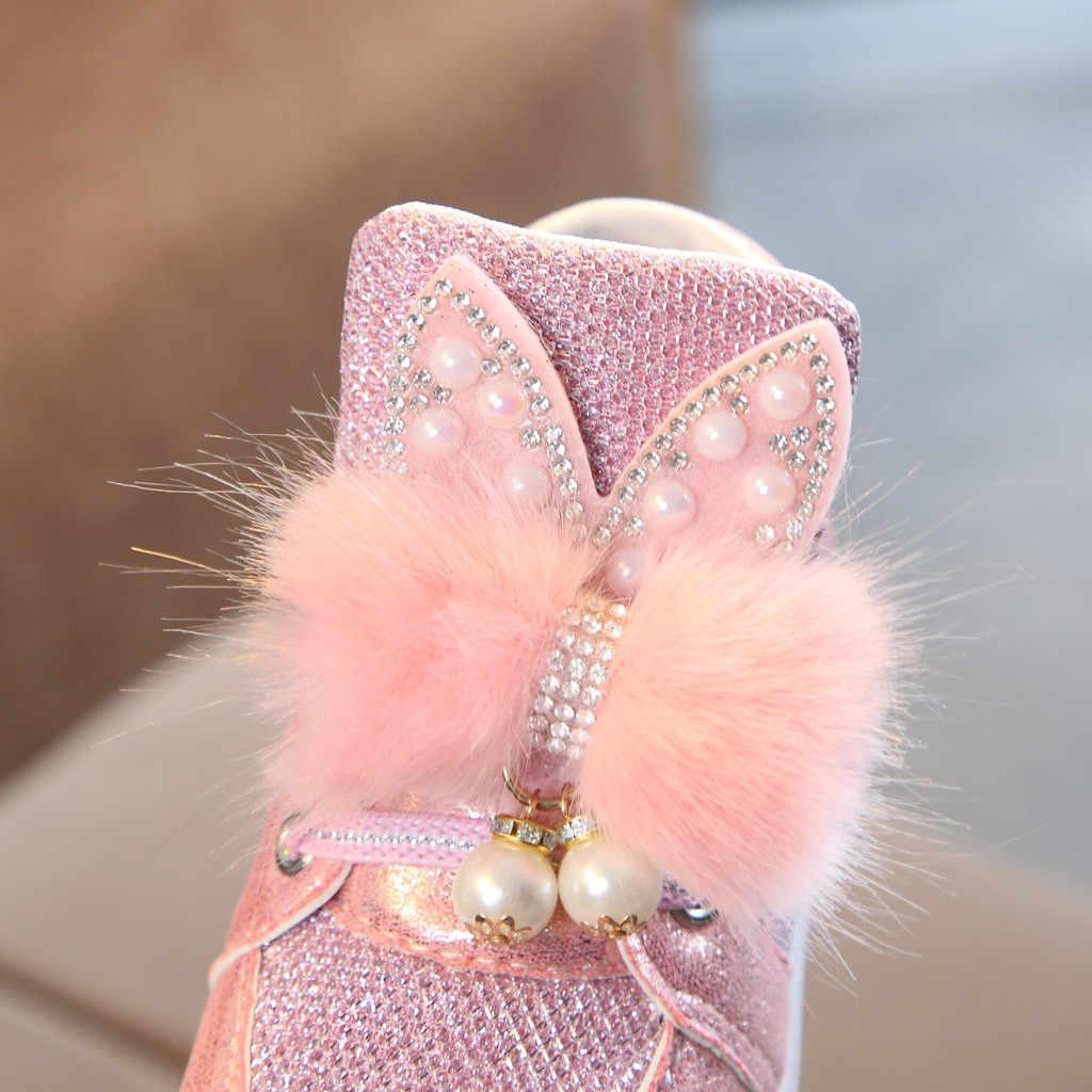 Peuter Kids Meisjes Cartoon Konijnenbont Leuke Strik Sneakers Baby Meisje Led Lichtgevende Mode Sport Schoenen Parel Solid Casual Schoenen