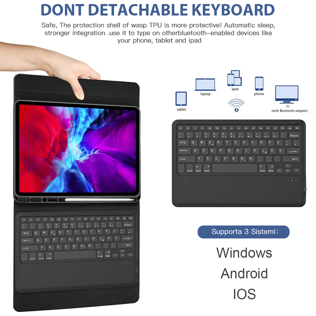 Image 4 - Keyboard Case For iPad Pro 12.9 2020 Tablet Bluetooth Keyboard  with Case Pen Holder Leather Case For iPad Pro 2020 12.9  KeyboardTablets
